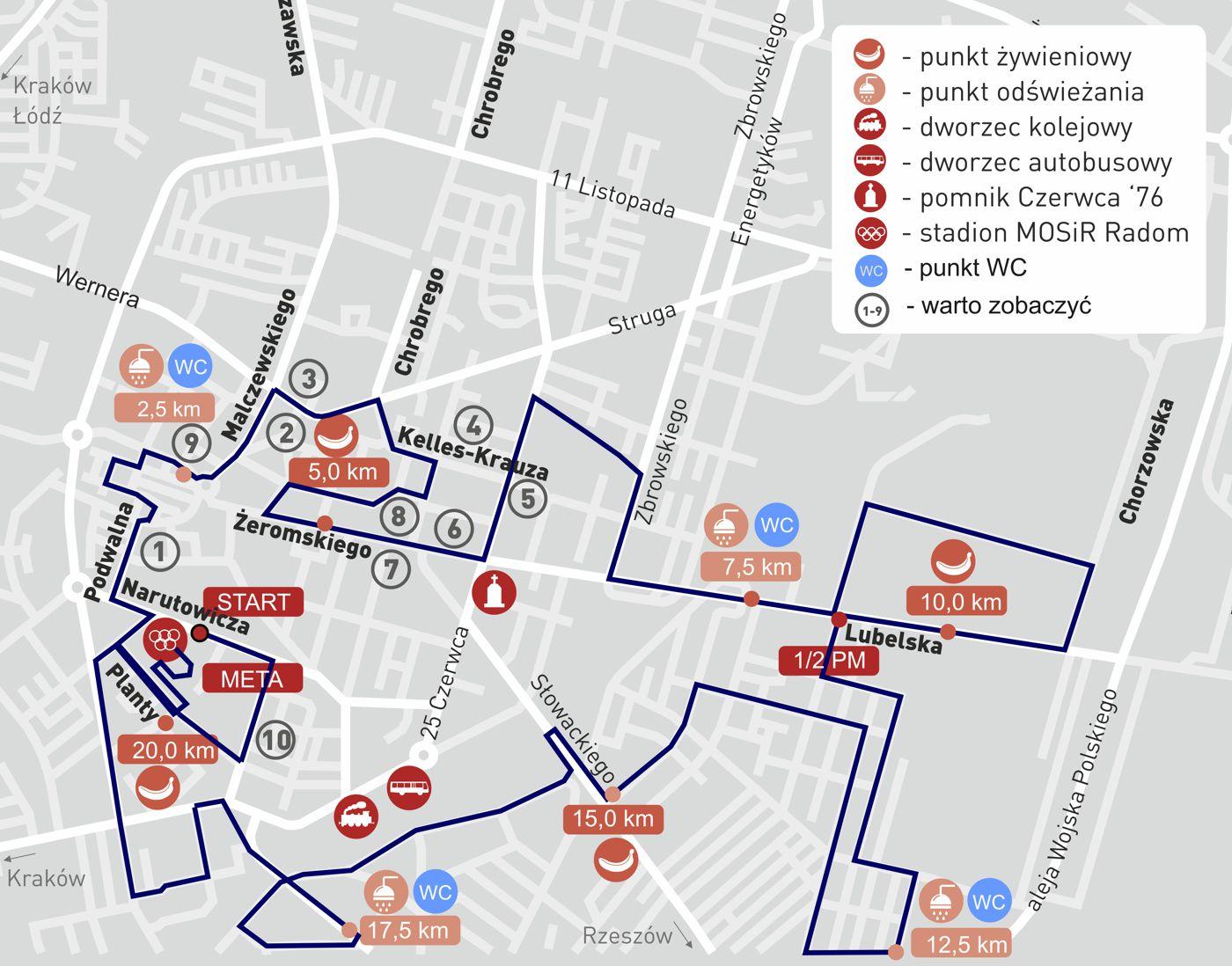 Mapka trasy półmaratonu - edycji 2015