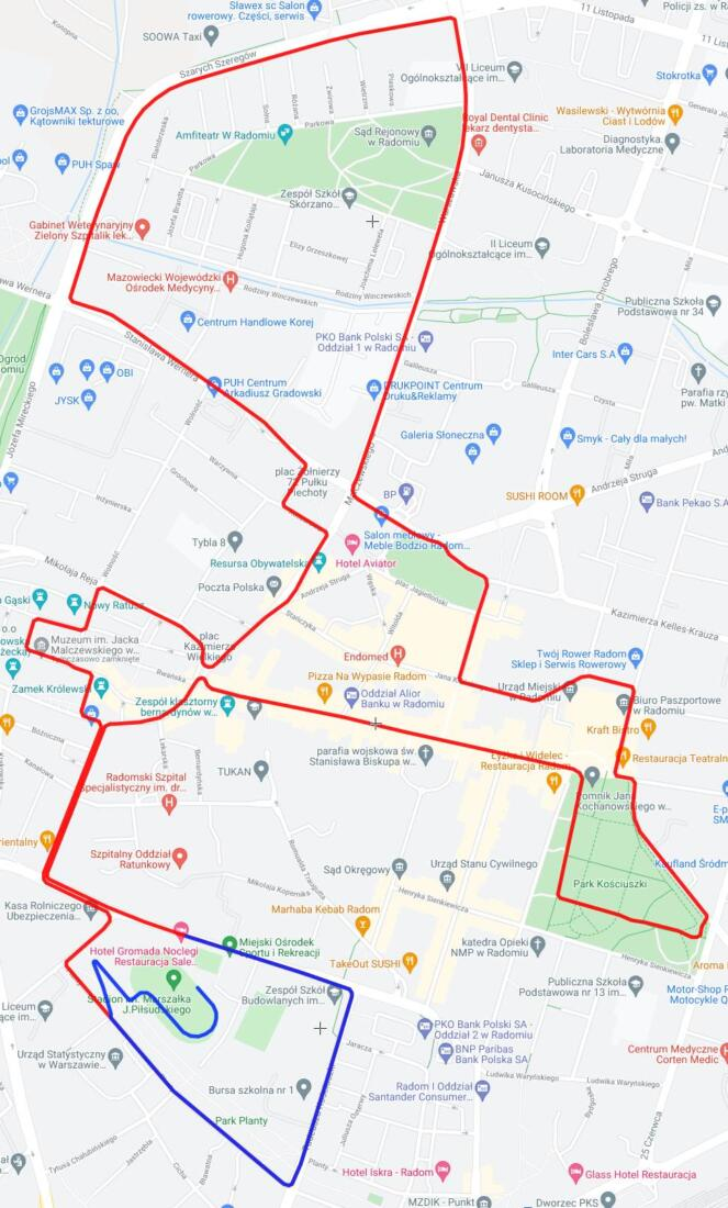 Mapka trasy półmaratonu - edycji 2021